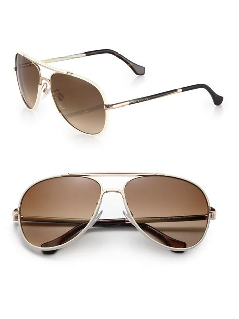 lyst balenciaga 60mm aviator sunglasses in white for