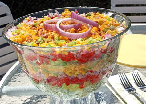 summer lunch menu ideas for entertaining chilled stacked salad mrfood