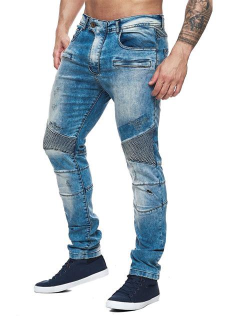 Distressed Washed Slim Fit slim fit washed blue biker distressed note