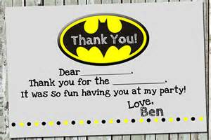 coordinating batman thank you notes