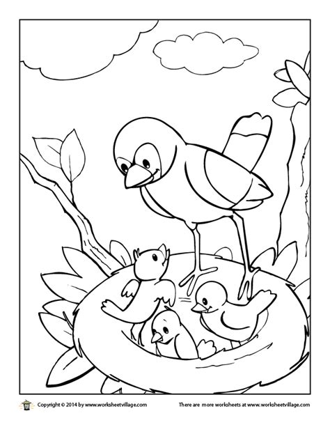 snow village coloring page bird nest coloring sheet in the pages hellokids grig3 org