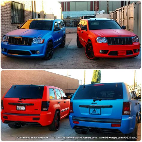 matte blue jeep jeep grand cherokee srt8 wrapped in matte blue aluminum by