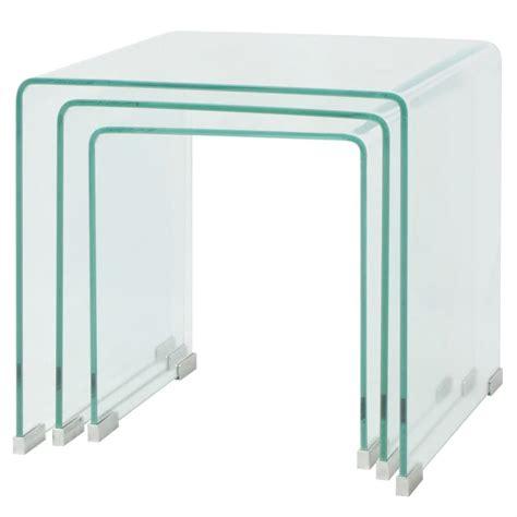 Tempered Glass vidaxl three nesting table set tempered glass clear vidaxl co uk