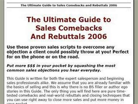 the ultimate guide to working out with confidence ebook the ultimate guide to sales comebacks rebuttals youtube