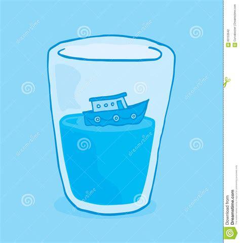tiny boat cartoon tiny boat floating on glass of water stock vector