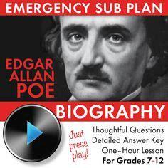 Edgar Allan Poe Biography Lesson | school sub stuff on pinterest emergency sub plans sub