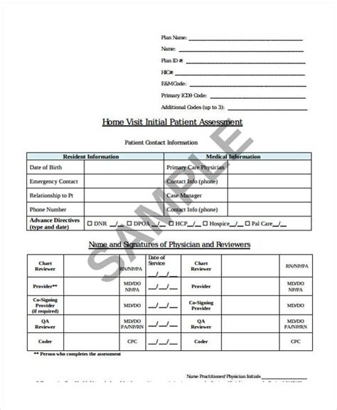 health assessment form samples   ms word