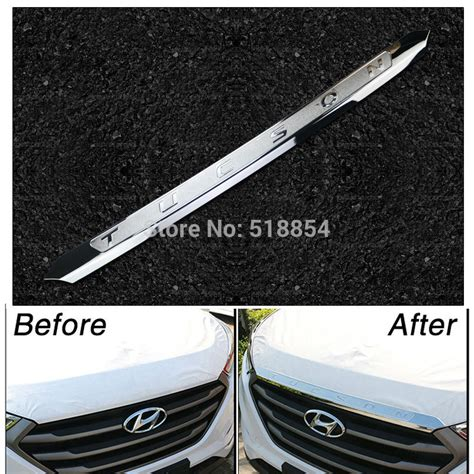 Cover List Garnish Grill Tengah Calya Chrome 1 accessories fit for 2015 2016 hyundai tucson tl chrome front bonnet grill lip molding cover
