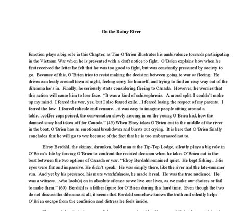 theme essay on the things they carried on the rainy river essay the things they carried summary