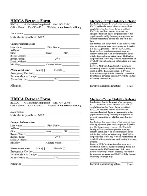 retreat registration form 2 free templates in pdf word
