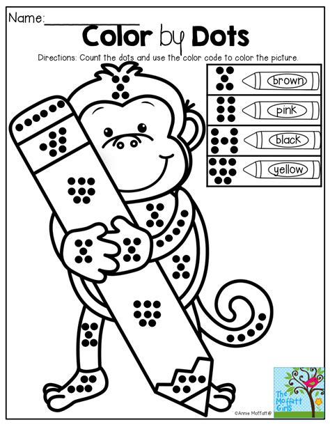 counting coloring pages for kindergarten color by dots great for counting number sense and color