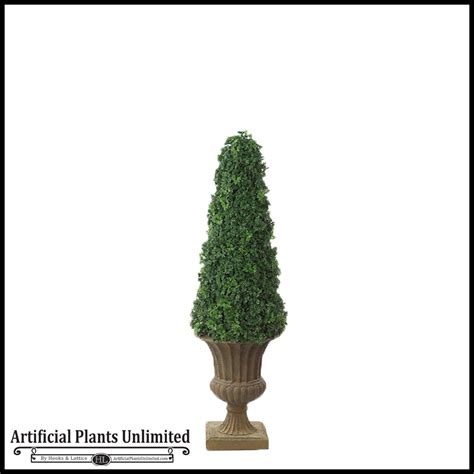 faux outdoor topiary 53 quot outdoor artificial ming aralia cone topiary