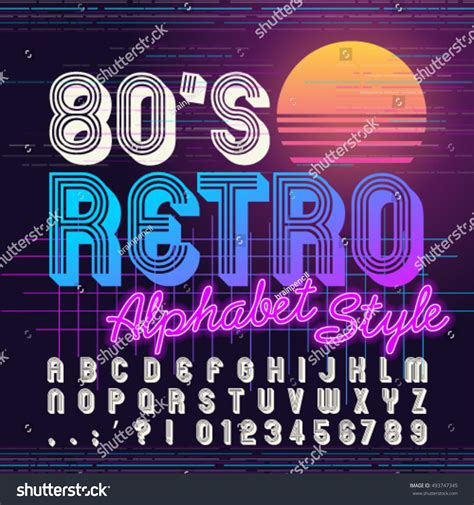 retro 80 s card templates 80s retro alphabet font retro alphabet stock vector