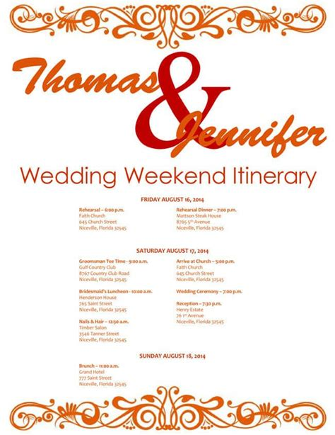 wedding day itinerary template wedding day itinerary template excel calendar template 2016