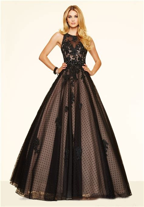 elegant ball gown open  black tulle lace beaded prom dress