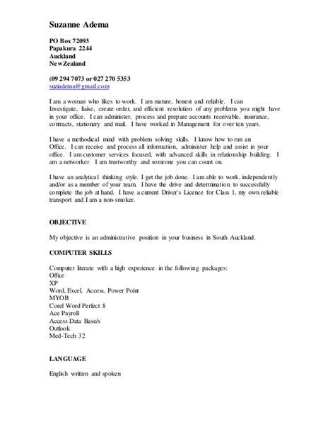 Resume New Zealand 2015 Suzanne Adema Resume 2015 A1