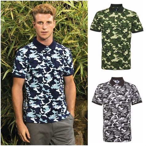 mens combat camouflage army print casual polo shirt t shirt top s 3xl ebay