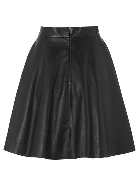 black leather flared skirt dress ala