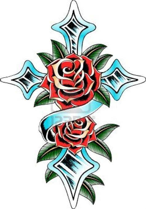 tattoo cross with roses designs the rosy cross and ribbon pictures tattoomagz