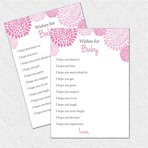 baby shower wish list template 6 best images of printable wishes for baby template free