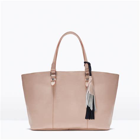 Zara Tassel Original zara pink beige leather tassel large shopper bag ref