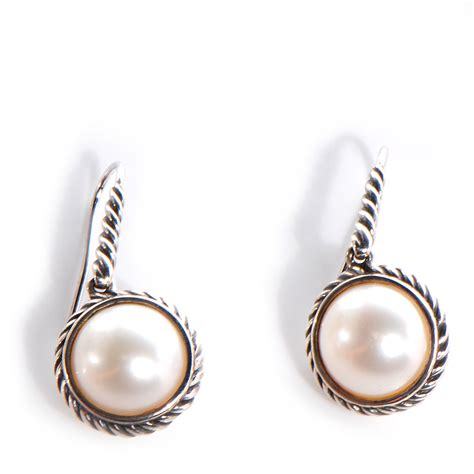 david yurman sterling silver 9mm cable pearl drop earrings