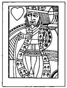 card blank template king of diamonds of hearts coloring page coloring color