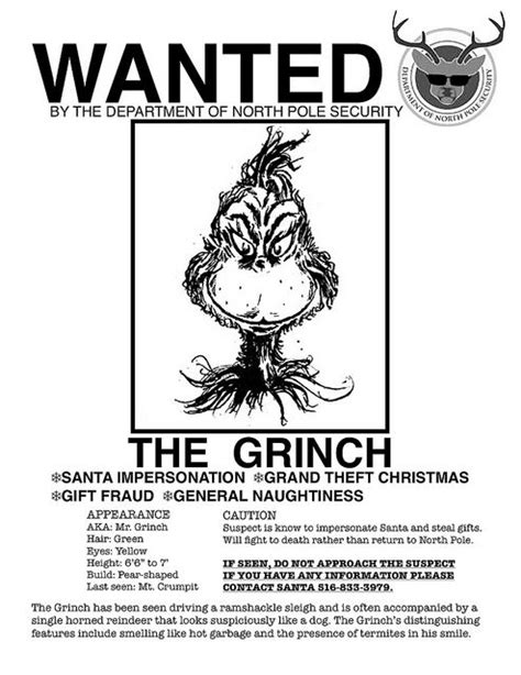 printable grinch poster the grinch s wanted poster funny cartoons funnies