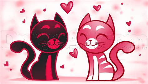 how to draw cats step by step valentines