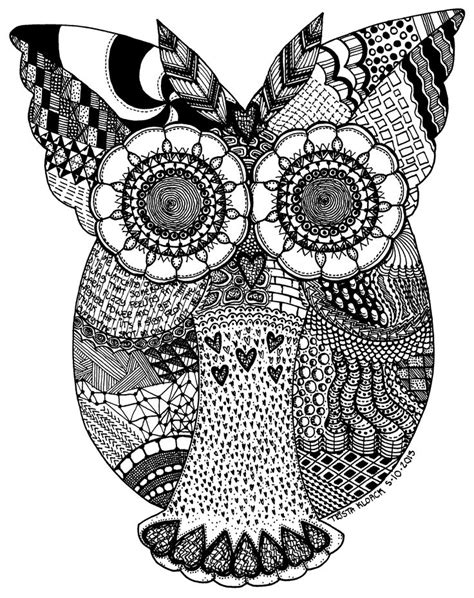 owl zentangle coloring page zentangle owl by zebroidzenith for leanna pinterest
