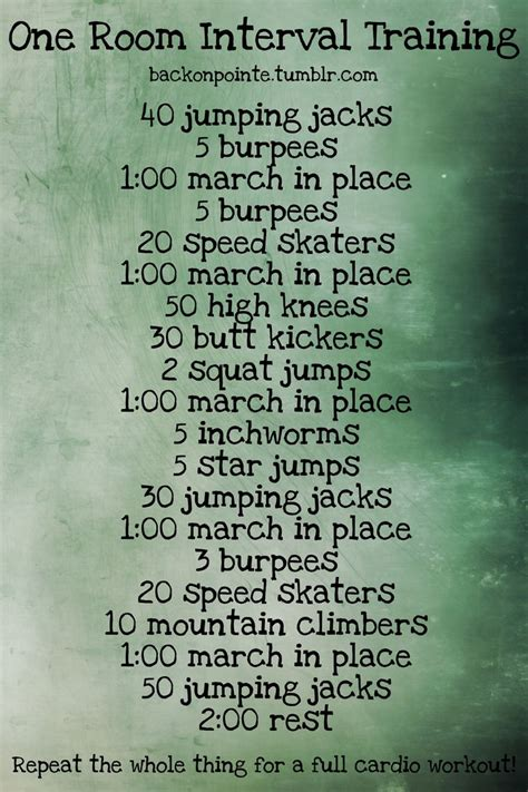 one room interval workouts