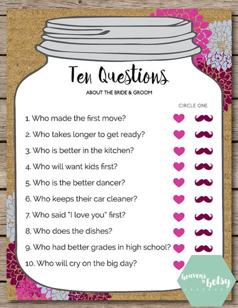 Wedding Gift Questions by Jar Ten Questions Bridal Shower Wedding