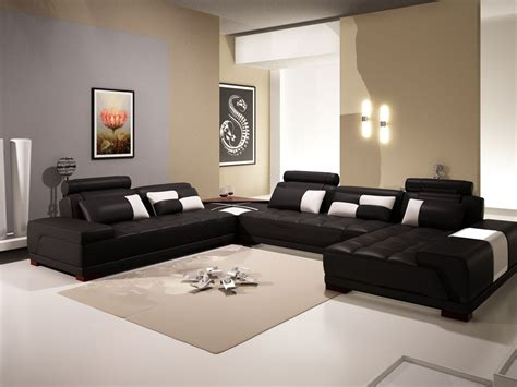 Sofa For Living Room by Phantom Contemporary Black Leather Sectional Sofa W Ottoman