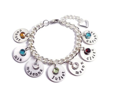 name and birthstone bracelet personalized by
