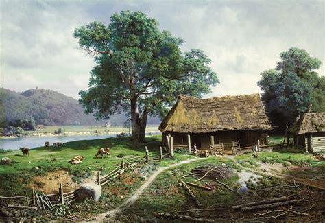 river side farm house file mikhail clodt riverside farmstead jpeg wikimedia commons
