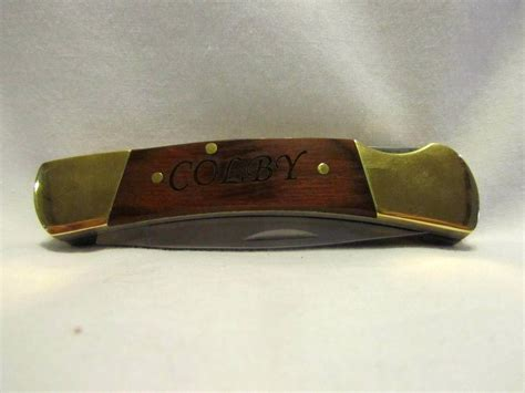 custom engraved knife custom engraved pocket knife wood handle lockback