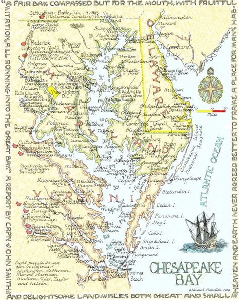 maryland map chesapeake bay map of the chesapeake bay which separates virginia s