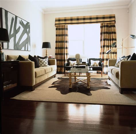 Brown And White Cowhide Fabric Living Room Interior Design Diane Bergeron Interiors