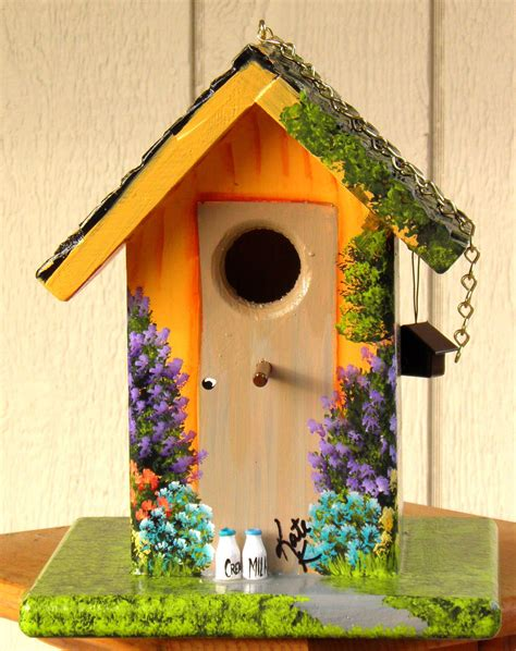 colorful houses painting hand painted bird house orange with colorful flowers