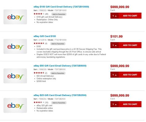 Where To Buy A Ebay Gift Card - staples removes ebay electronic gift cards from their site and wtf is going on
