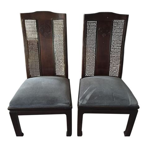 bernhardt asian style cane dining chairs  pair chairish