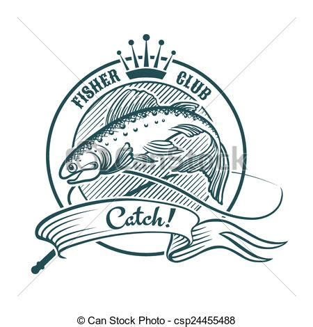 vector of fisher club badge or label with jumping salmon