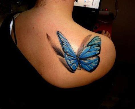 tattoo 3d papillon modele tatouage papillon 3d en relief bleu sur haut du dos