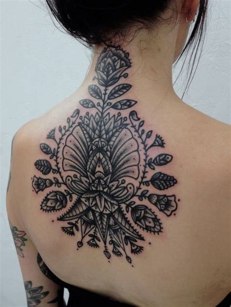 sexy back tattoo black and grey shaded mandala floral back tattoos