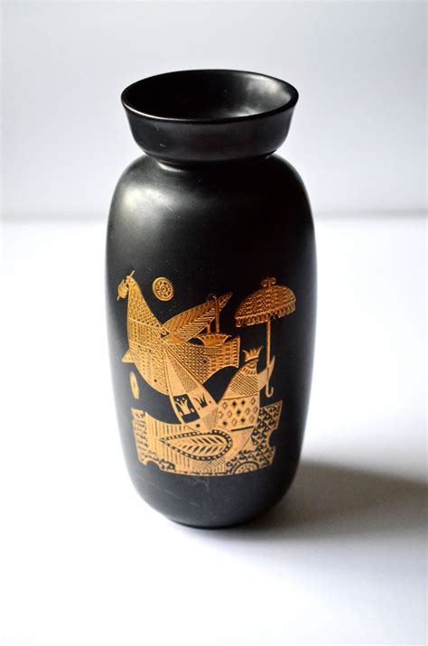 Hyalyn Pottery Vase by Georges Briard Hyalyn Pottery Black Gold By Newswedenvintage