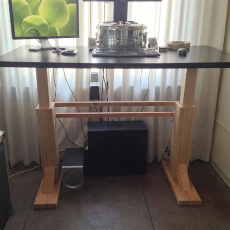 Homemade Standing Desk Showcases Creative Idea That Helps Diy Adjustable Height Desk