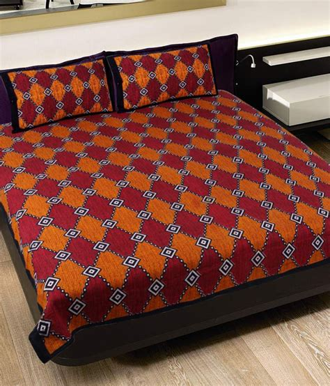 maroon bed sheets grj india orange and maroon rajasthani pure cotton double
