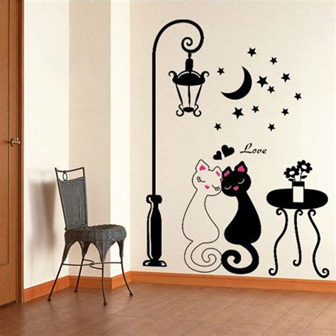 where can i buy home decor diy black couple cat removable wall decal stickers art