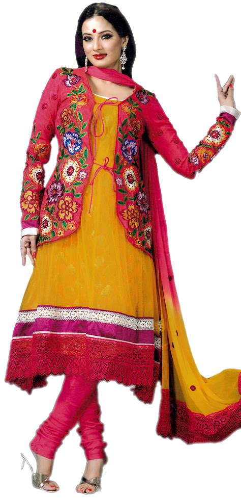 jacket design kameez golden rod and magenat designer salwar kameez suit with