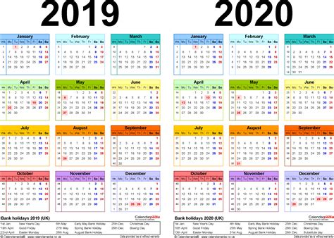Calendar 2019 And 2020 Two Year Calendars For 2019 2020 Uk For Pdf